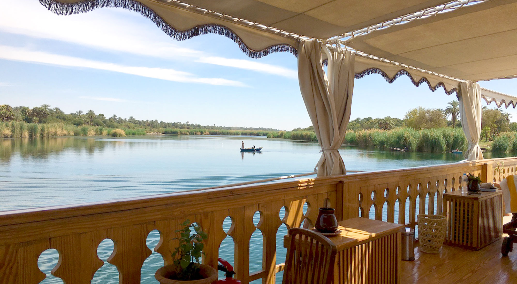 The sun deck offers impressive panoramic views of the Nile
