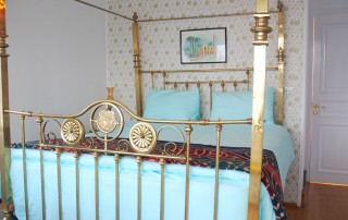 Each suite has a king-size brass double bed
